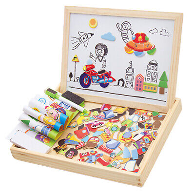 Magnetic Jigsaw  Drawing Board Wooden Game Educational Toys for Children