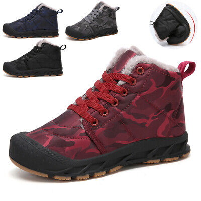 Uk Boys Girls Kids Chirdren Camouflage Snow Boots Outdoor Fur Lined Winter Shoes