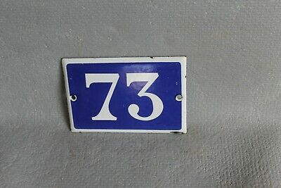 Antique French Traditional Blue & White Enamel Door / House Number 73