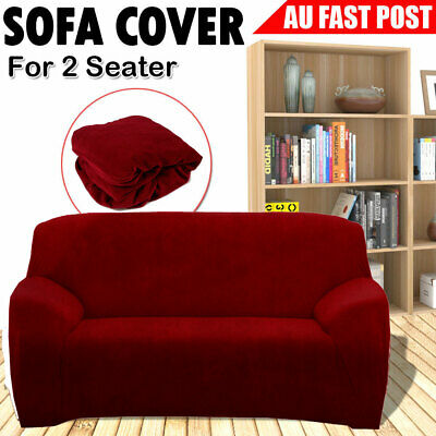 2 Seater Soft Elastic Sofa Cover Easy Stretch Slipcover Protector Couch Home Red