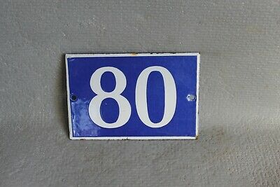 Antique French Traditional Blue & White Enamel Door / House Number 80