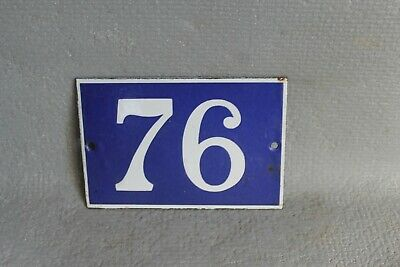 Antique French Traditional Blue & White Enamel Door / House Number 76