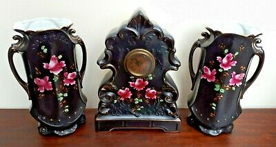 Beswick Clock Garniture Black & Hand Painted Pink Roses Gilt Accents Lynn