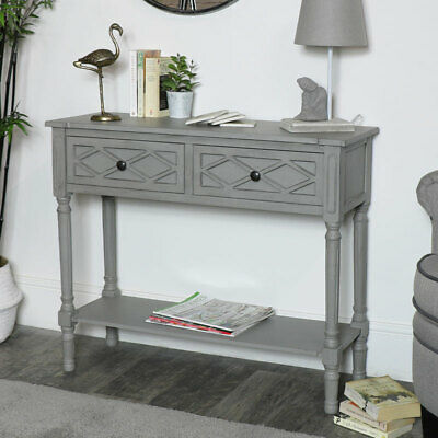 Ornate grey lattice front console table living room hallway furniture