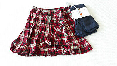 Next Girls Red Check Rufftle Trim Skirt & Grey Tights Age 10 Years Bnwt RRP £21