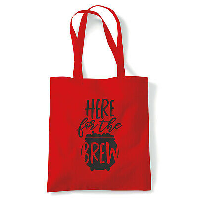 Here For The Brew, Tote - Halloween Reusable Canvas Bag Gift