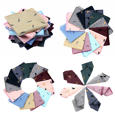 Business Casual Pocket Square Cotton Handkerchief Birds Feather Pattern