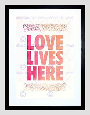 Love Lives Here Typography Black Valentines Day Paint Pink Art Print B12X13939