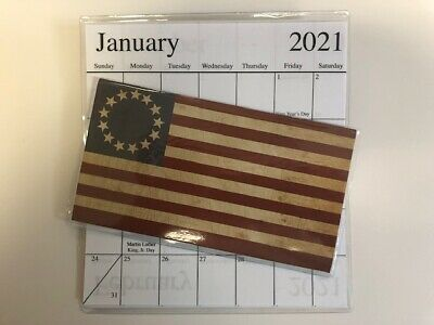 1-2020-2021 AMERICAN FLAG WITH CIRCLE STARS 2 Year  Pocket Calendar planner