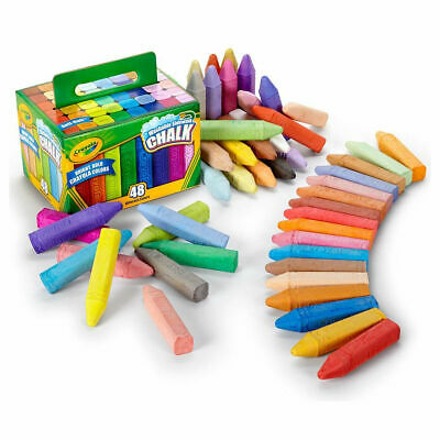 Crayola Sidewalk Washable Anti-Roll Coloured Chalks -48 Pieces in bright Colours