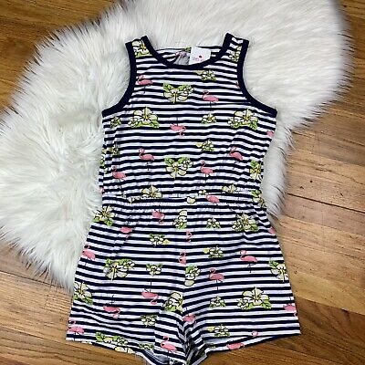 Poof Girl NWT Girls Size Large Tank Top/Shorts Striped Floral Flamingo ROMPER