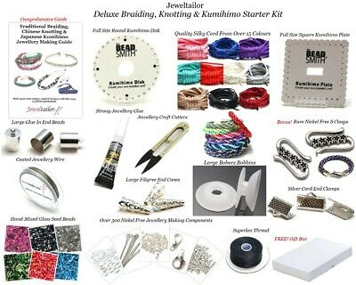 Jeweltailor Deluxe Kumihimo Braiding Jewellery Kit Beadsmith,Tools,Cord,Guide