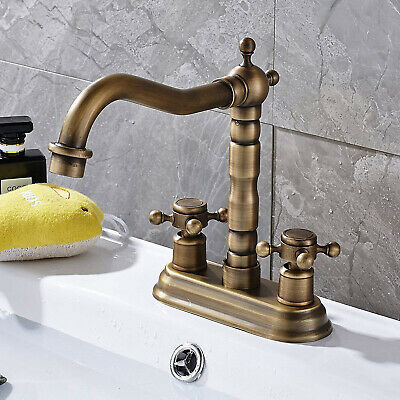 ROZIN BATHROOM SINK FAUCET 4 In Center Hole 2 Knobs Basin Mixer Tap Brass