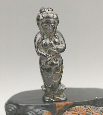 Chinese old natural jade hand-carved buddha guanyin pendant