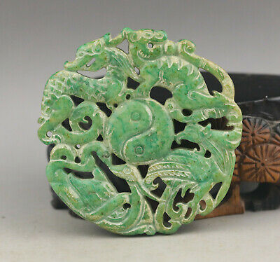 Old Chinese natural jade hand-carved four god beast pendant