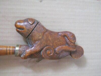 Stunning antique hand carved wooden dog pipe 19th century