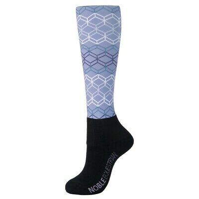 New! Noble Equestrian Over The Calf Peddies Purple Ash Geo Long Riding Socks