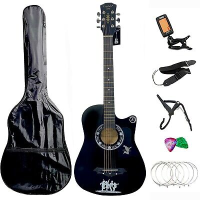 CLASSIC ACOUSTIC GUITAR 6 STRING PACK BOYS GIRLS MUSIC GUITAR 4//4 SIZE 38/""