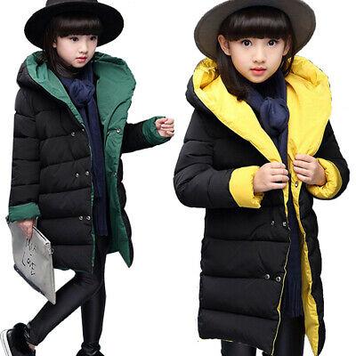 Kids Girls Jackets Winter Warm Coat Hooded Double-Sided Reversible Thick Outwear