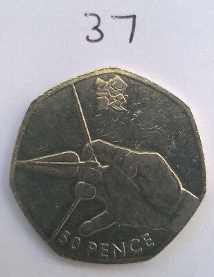 2011 London 2012 Olympic Games Archery 50p Fifty Pence Coin Circulated
