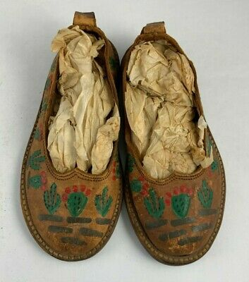 Antique VTG Leather Toddler Childs Shoes With Painted Cactus Cacti Southwestern