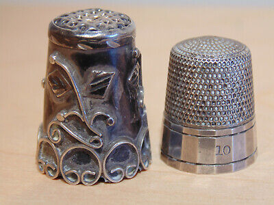 2 Antique Sterling Silver #10 Thimbles - Both Marked