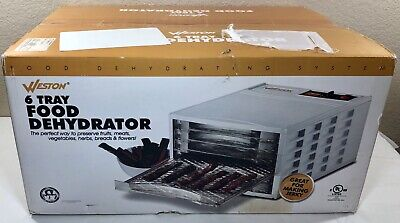 Weston 750301W 6 Tray Food Dehydrator Fruits Vegetables Meat Fish NIB MSRP $149