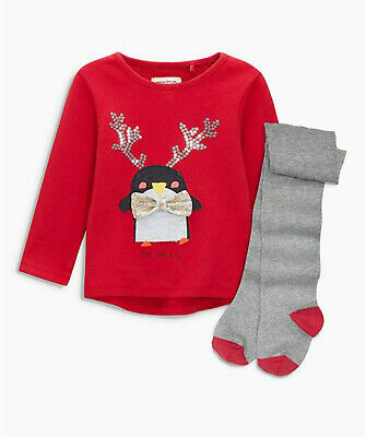 Next Baby Girls Red Penguin Top & Tights Set Age 6-9 Months BNWT
