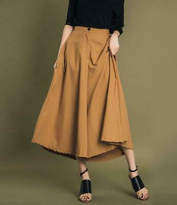 Womens High Waist Loose Wide Legs Cropped Skirt Pants Short Flare Trousers 2020