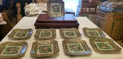 "9 -19th C - 6"" Hexagon Plates - Canton Famille Rose Butterfly Medallion Plates"