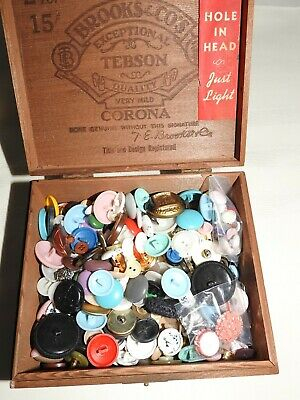Large Group of Vintage Buttons in a Wooden Cigar Box