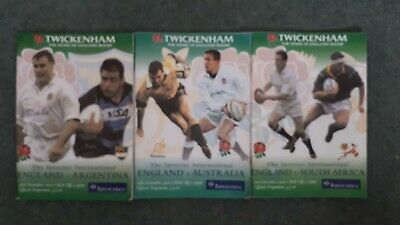 Rugby Union England 2000 Australia, South Africa & Argentina Programmes