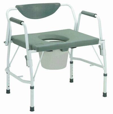 McKesson Bariatric Commode Chair Drop Arm Steel Padded Back Up to 1,000 lbs