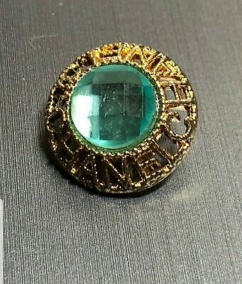 CHANEL CC LOGO High Quality Button TEAL Sparkle 18 mm .7 Inch RARE!