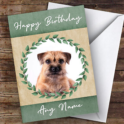 Border Terrier Dog Green Animal Personalised Birthday Card