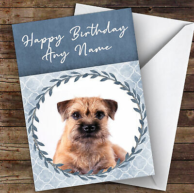 Border Terrier Dog Blue Animal Personalised Birthday Card