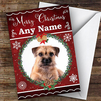 Border Terrier Dog Traditional Animal Personalised Christmas Card