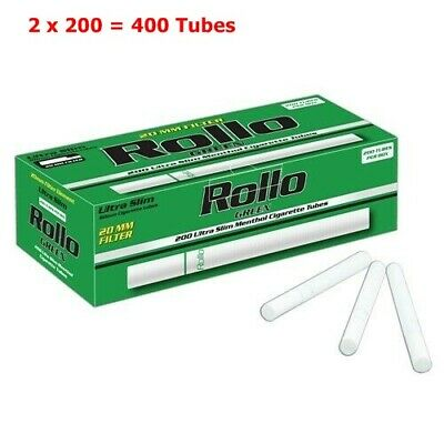Empty Cigarette Tubes Rollo Green Menthol Ultra Slim 200 80 mm /6,5 mm Filter