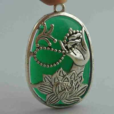 Collectable Handwork Jade Inlay Miao Silver Carve Buddha Lotus Tibet Pendant