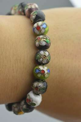 Collectable Handwork Decor Cloisonne Carve Flower Bead Auspicious Lucky Bracelet