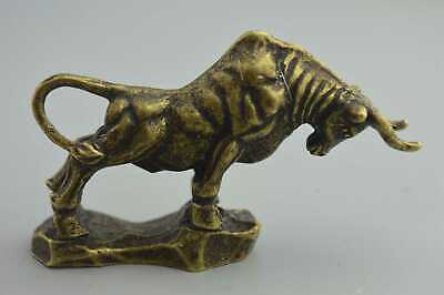 Collectable Handwork Old Copper Carve Hunting Bull Ancient Exorcism Tibet Statue