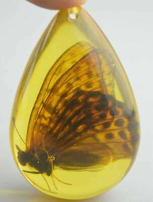 Collectable Handwork Amber Inner Inlay Beauty Butterfly Auspicious Hand Pendant