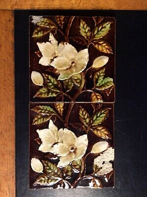 Antique Victorian Majolica Tiles x2 Floral Fireside Brown & Cream