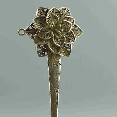 China Collection Handwork Old Miao Silver Carve Beauty Flower Auspicious Hairpin