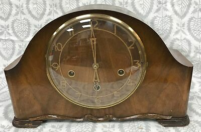 Vintage Smiths Wooden Chiming Mantle Clock Working With Key & Pendulum #255