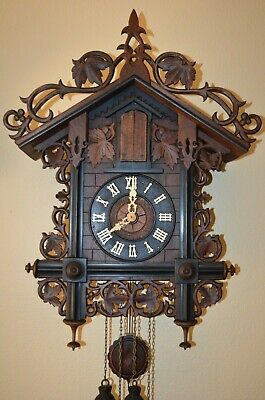 ANTIQUE GERMAN BLACK FOREST RARE 3 HORN TRUMPETER CUCKOO CLOCK LATE 1800's