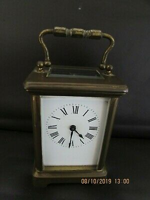 antique brass cased gilt carriage clock 5 glass early 20th century working 11cm