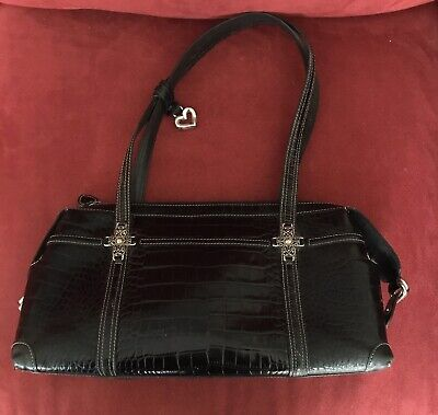 BRIGHTON Black  Leather Croc Two Handle Strap Handbag Purse. Free shipping.