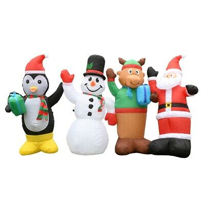 ALEKO Outdoor Yard Decor Inflatable LED Waving Christmas Figures 8ft with Blower