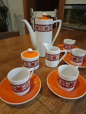 Vintage Retro Groovy Coffee Set with pot, creamer, sugar bowl and cups/saucers